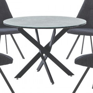 Ascot Marble Effect Glass Dining Table With Black Metal Legs