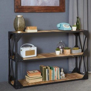 Ascot Wooden Low Bookcase In Reclaimed Wood And Metal Frame