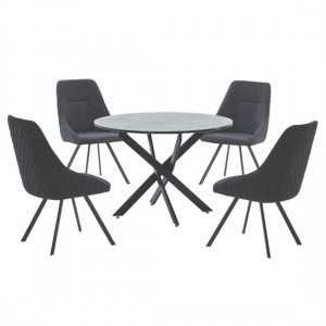 Ascot Wooden Round Dining Table In Marble Effect With 4 Chairs