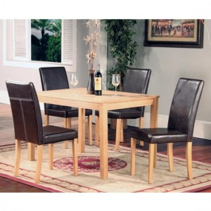 Ashdale Wooden Dining Set In Ash Veneer With 4 Chairs