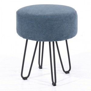 Aspen Fabric Round Stool In Blue With Black Metal Legs