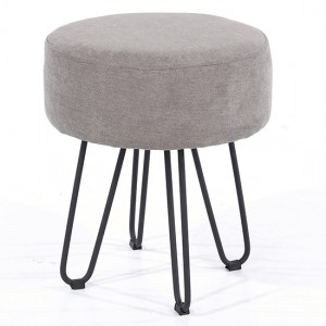 Aspen Fabric Round Stool In Grey With Black Metal Legs