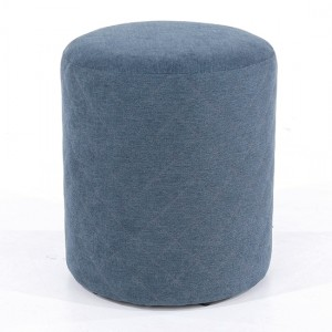 Aspen Fabric Upholstered Round Tub Stool In Blue
