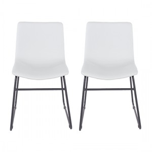 Aspen Grey Faux Leather Dining Chairs With Black Legs In Pair
