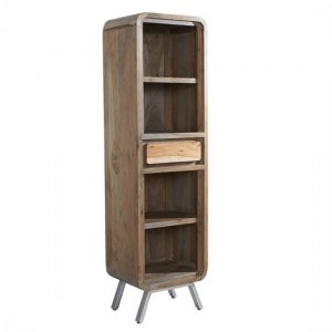 Aspen Narrow Wooden 1 Drawer Bookcase In Reclaimed Wood