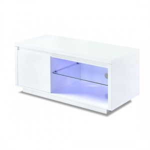 Astana LED Wooden TV Stand In White High Gloss With 1 Door