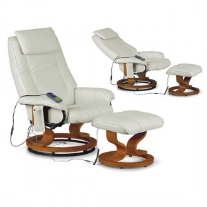 Aston Faux Leather Recliner Chair With Footstool In Cream