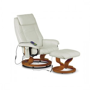 Aston PU Leather Message Recliner With Footstool In White