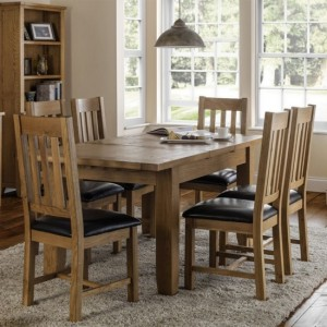 Astoria Extending Wooden Dining Table In Oak With 6 Chairs