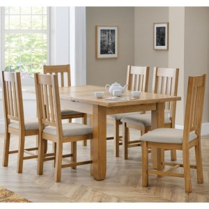 Astoria Wooden Dining Table In Natural With 6 Hereford Chairs