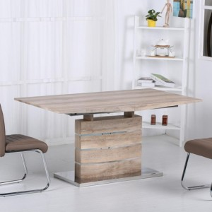 Astra Extending Dining Table In Oak Effect With Stainless Steel Base