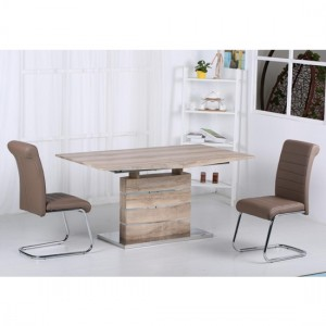 Astra Extending Wooden Dining Set In Oak Effect With 6 PU Chrome Chairs