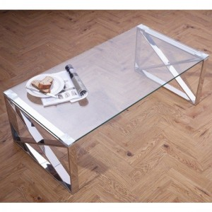 Astra Glass Top Coffee Table With Stainless Steel Legs