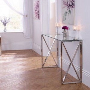 Astra Glass Top Console Table With Stainless Steel Legs