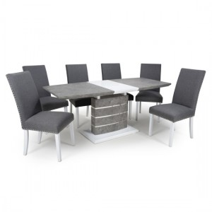 Atlas Large Extendable Grey White Granite Effect Dining Table With 4 Randall Linen Steel Grey Dining Chairs