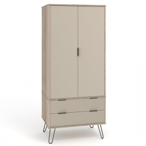 Augusta Wooden 2 Doors And 2 Drawers Wardrobe In Driftwood