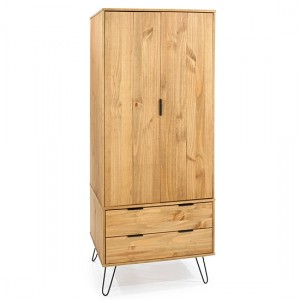 Augusta Wooden 2 Doors And 2 Drawers Wardrobe In Pine