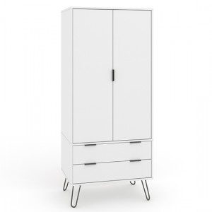 Augusta Wooden 2 Doors And 2 Drawers Wardrobe In White