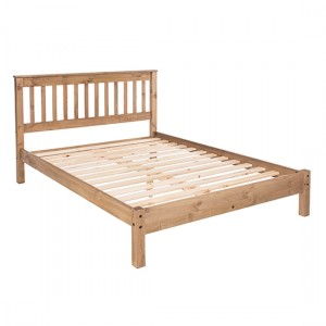 Augusta Wooden Slatted Low End Double Bed In Antique Wax
