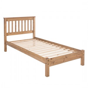 Augusta Wooden Slatted Low End Single Bed In Antique Wax