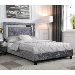Augustina Crushed Velvet King Size Bed In Silver With Mirror