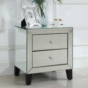 Augustina Mirrored Bedside Cabinet With 2 Drawers