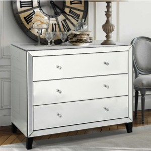 Augustina Mirrored Wooden Chest Of Drawers With 3 Drawers