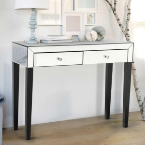 Augustina Mirrored Wooden Dressing Table With 2 Drawers