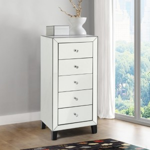 Augustina Nattow Mirrored Wooden Chest Of Drawers With 5 Drawers