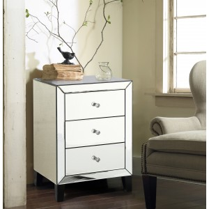 Stella Mirrored Bedside Cabinet With 3 Drawers