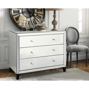 Stella Mirrored Chest Of Drawers Wide With 3 Drawers