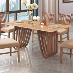 Aurora Marble Dining Table In Lacquer With Wooden Base
