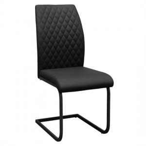 Austin Set Of 4 Faux Leather Dining Chairs In Black