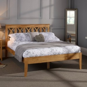 Autumn Wooden King Size Bed In Honey Oak