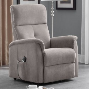 Ava Chenille Fabric Rise And Recliner Chair In Taupe