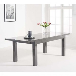 Ava Extending Wooden Dining Table In Dark Grey High Gloss