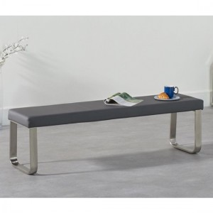 Ava Large Faux Leather Dining Bench In Grey