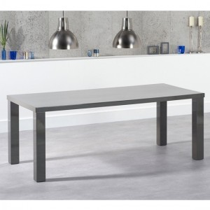 Ava Large Wooden Dining Table In Dark Grey High Gloss