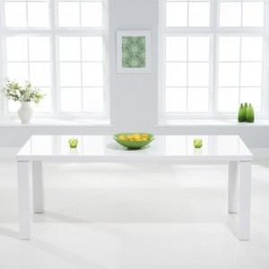 Ava Large Wooden Dining Table In White High Gloss