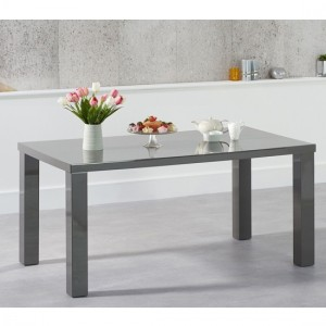 Ava Medium Wooden Dining Table In Dark Grey High Gloss