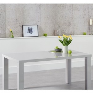 Ava Medium Wooden Dining Table In Light Grey High Gloss