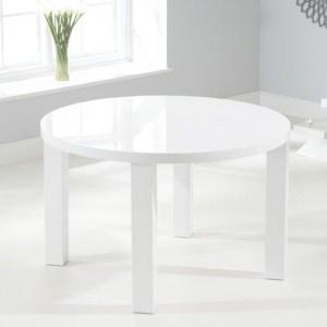 Ava Round Wooden Dining Table In White High Gloss