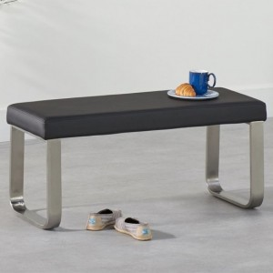 Ava Small Faux Leather Dining Bench In Black
