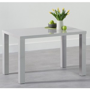 Ava Wooden Dining Table In Light Grey High Gloss