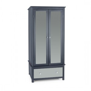 Ayr Mirrored Glass 2 Doors And 1 Drawer Wardrobe In Carbon