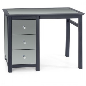 Ayr Mirrored Glass Single Pedestal Dressing Table In Carbon