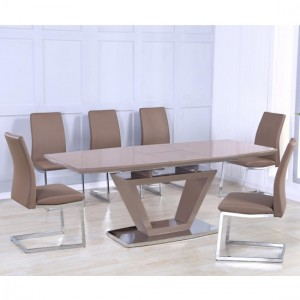 Azore Extending Wooden Dining Set In Cappuccino High Gloss With 6 Chairs