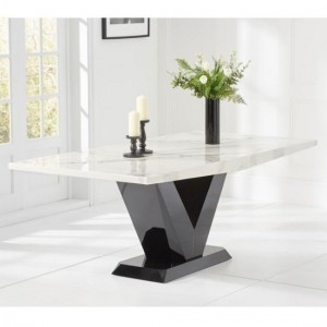 Loire Marble Large Dining Table In White With V Shape Base