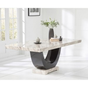 Memphis Marble Large Dining Table Rectangular In Cream And Black