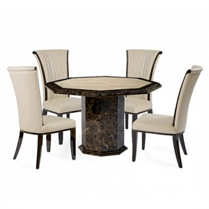 Tenore Marble Octagonal Dining Table With 4 Horizon Cream Chairs